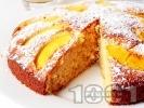 Рецепта Лесен кекс с прясно мляко и пресни праскови (с бакпулвер)
